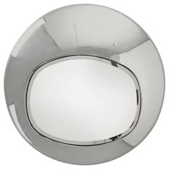 Spectacular Chromed Steel Futuristic Mirror  France 1970s