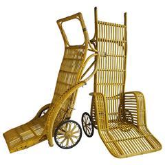 "Pair of Unusual Art Deco 'Rickshaw"" Split Reed Stick Wicker Chaise Lounge Chairs"