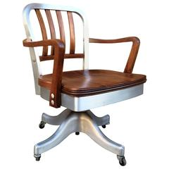 Shaw Walker Rolling Aluminum and Walnut Office Desk Armchair