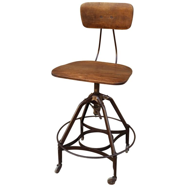 Early Industrial Toledo Drafting Stool At 1stdibs