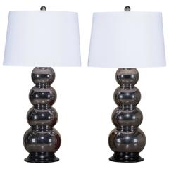 Pair of George Kovacs Style Vintage Chrome Lamps, circa 1975
