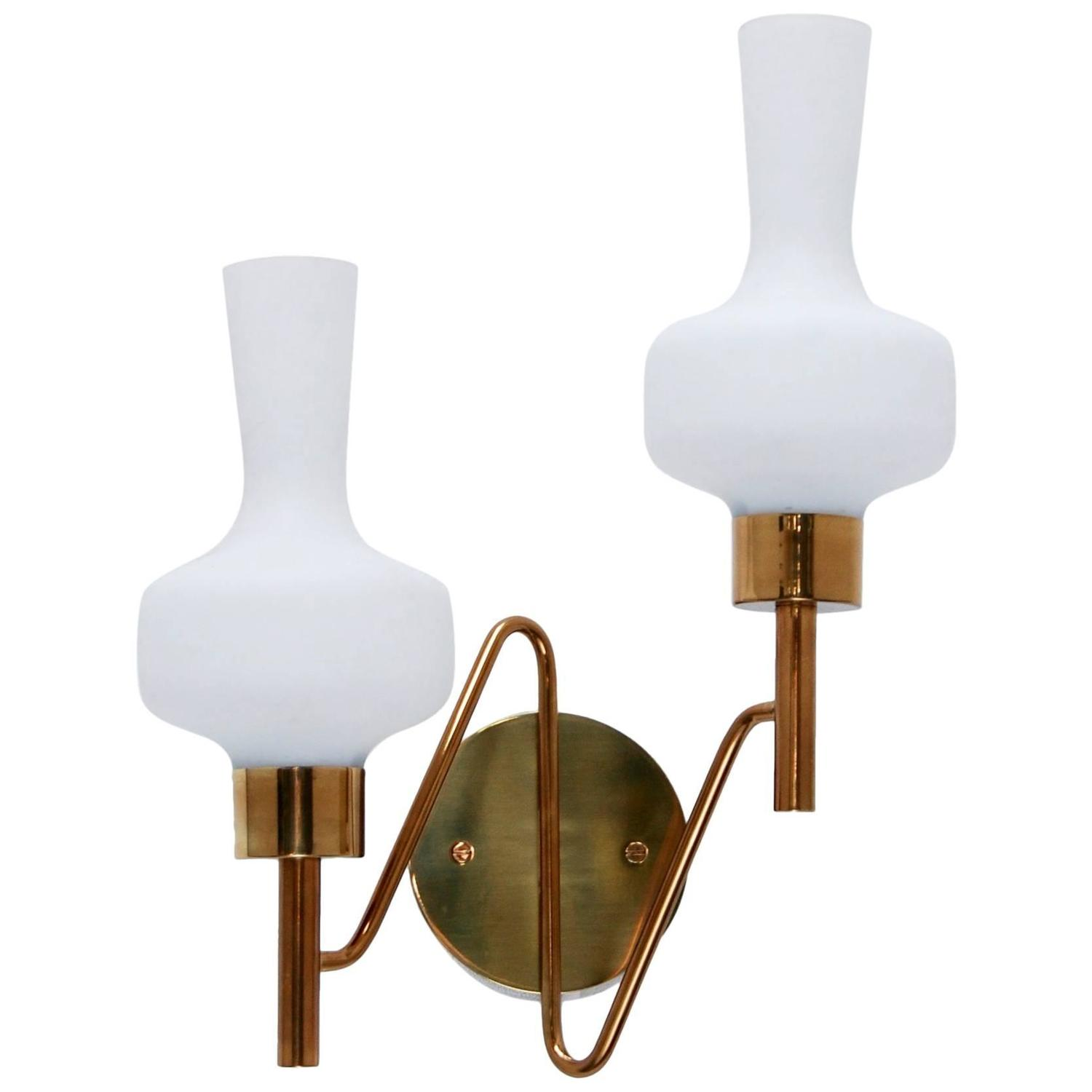 Double Shade Wall Sconces : Classic Italian Double Shade Sconce For Sale at 1stdibs