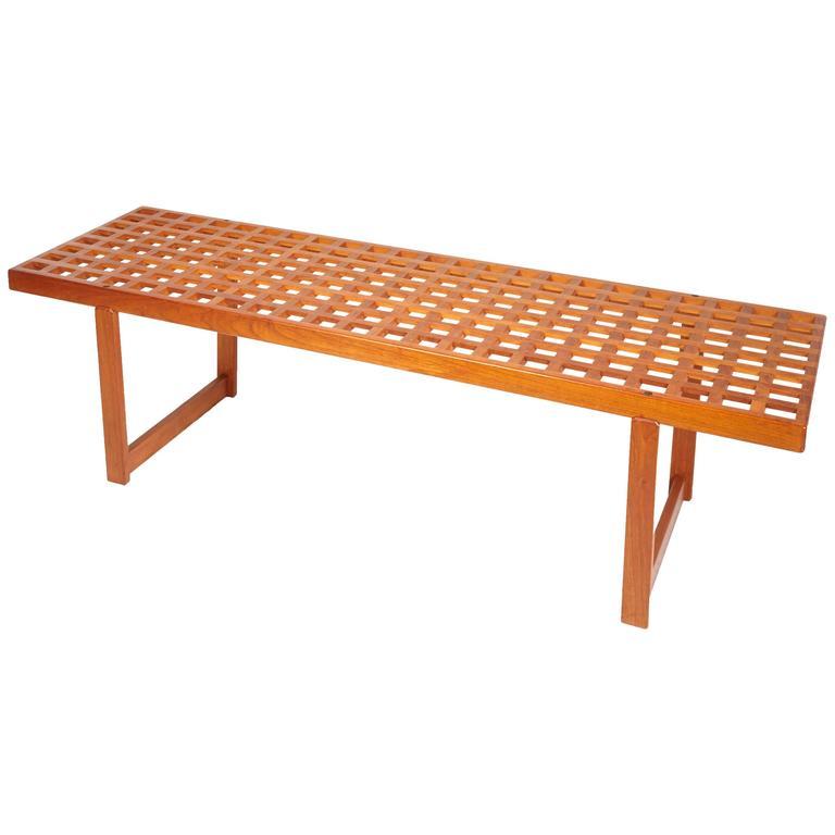 Mid-Century Modern Slat Teak Bench/Coffee Table by Lovig Nielsen, Denmark 1