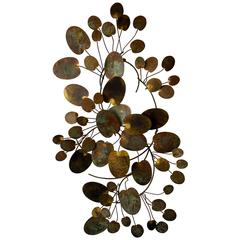 A Beautifully Patinated Water Lily Metal Wall Sculpture by Curtis Jere C.1977