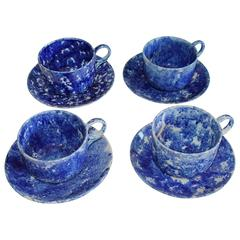 Collection of Four Monumental 19th Century Sponge Ware Mush Cups and Saucers