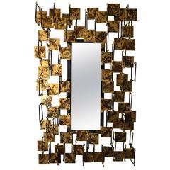 Contemporary Sculptural Gilded Steel Mirror by Del Williams C. 2016