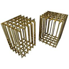 Pair of Brass-Plated Steel Cage-Form Dining Table Bases by Pierre Cardin C 1970s