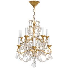 Italian Crystal Drop and Giltwood Chandelier