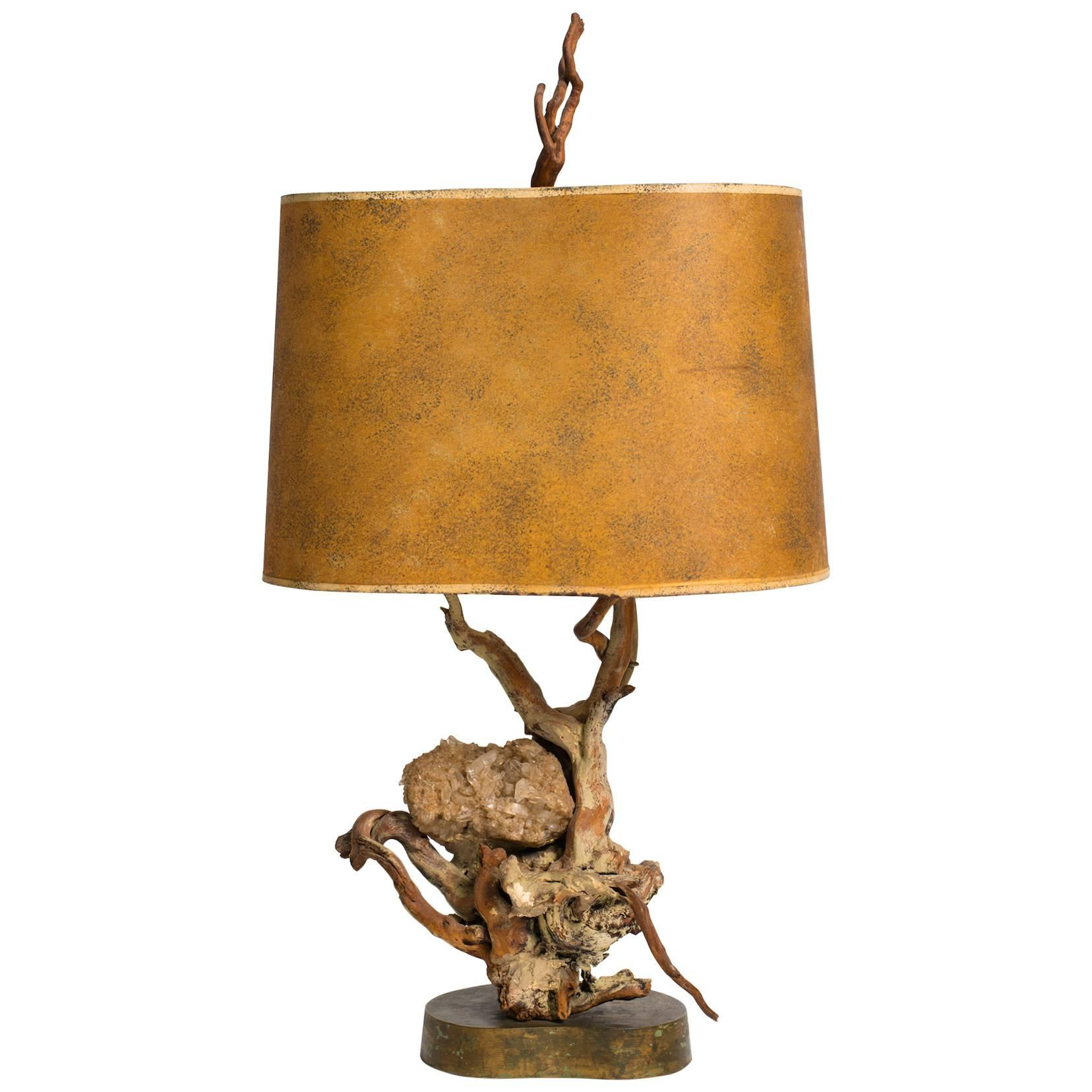 Driftwood and Quartz Table Lamp