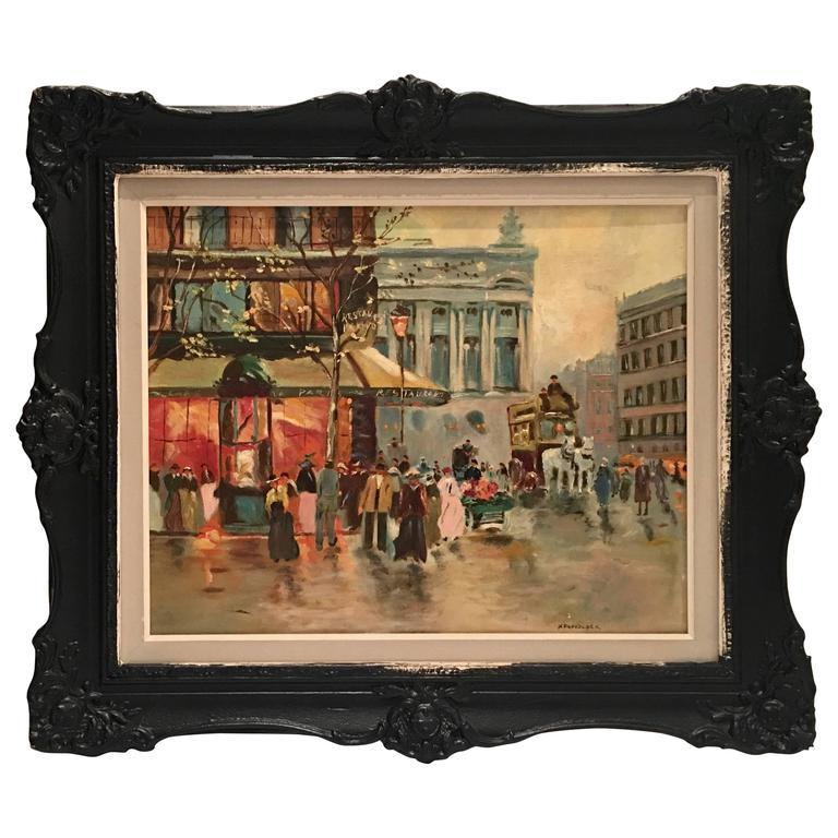 Mid-Century Original Oil Painting Paris Street Scene By, N. Proudlock For Sale