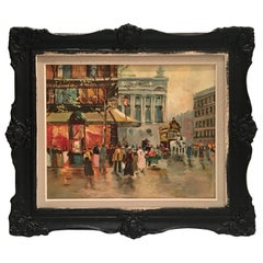 Mid-Century Original Oil On Canvas Painting Paris Street Scene By, N. Proudlock