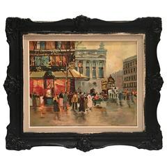 Mid-Century Original Oil Painting Paris Street Scene By, N. Proudlock