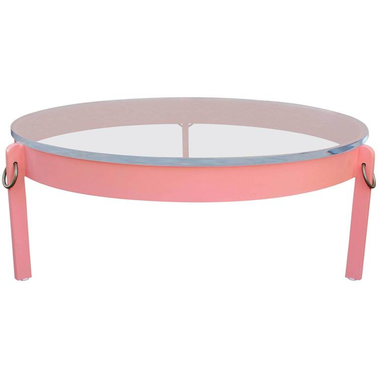 Round Coral Lacquer Modern Coffee Table Topped With Lucite Top And Brass Rings At 1stdibs