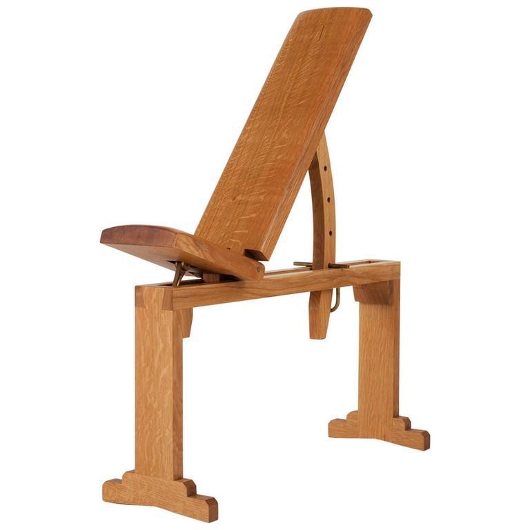 Asa Pingree Tidewalker Workout Bench, Quartersawn White Oak with Brass Hardware