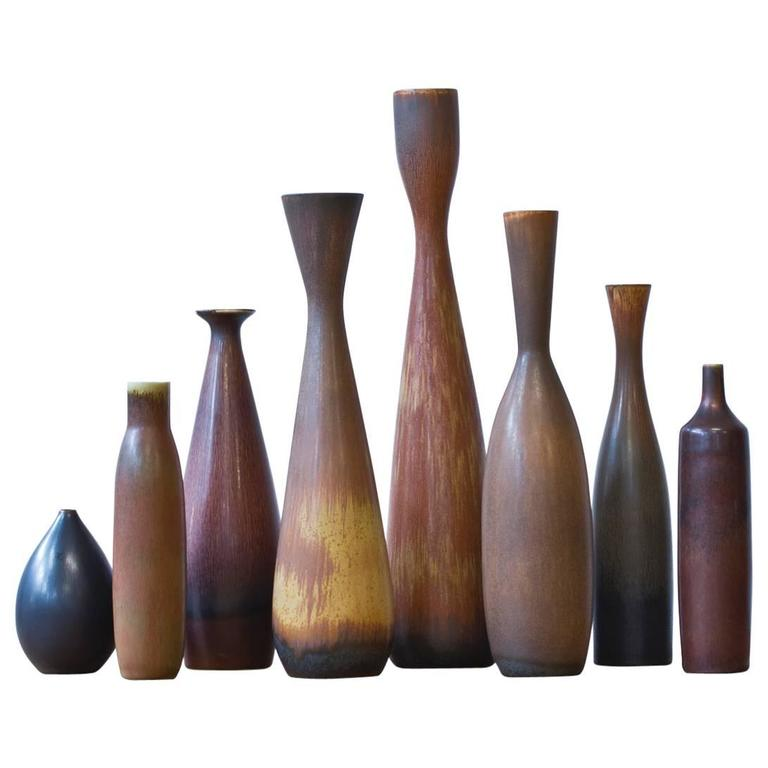 Collection of 1950s Stoneware Vases by Carl Harry Stalhane