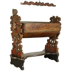 17th Century Carved and Lacquered Walnut Crib from the Papal States
