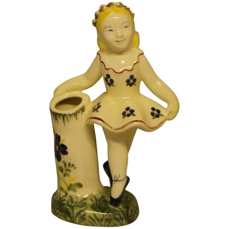 Rare Royal Copenhagen 'Aluminia' Faience Figurine of a Balerina For Sale