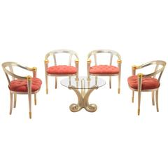 1970s Italian Design Gold and Silver Leaf Lounge Set Four Chairs + Coffee Table