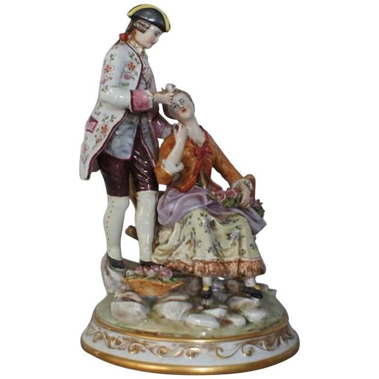 Very Large Capodimonte Naples Porcelain Figurine Of A