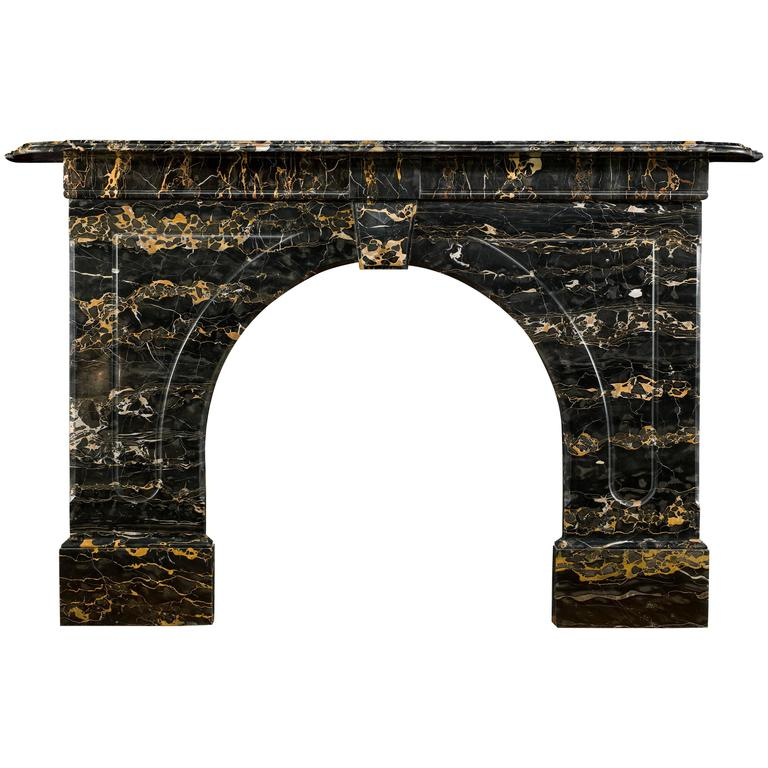 Victorian Portoro Marble Arched Antique Fireplace Mantel