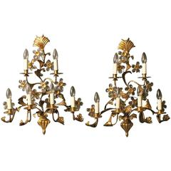 Florentine Pair of Gilded Six-Arm Wall Lights