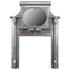 Edwardian Antique Cast Iron Fireplace in the Chinese Chippendale Manner