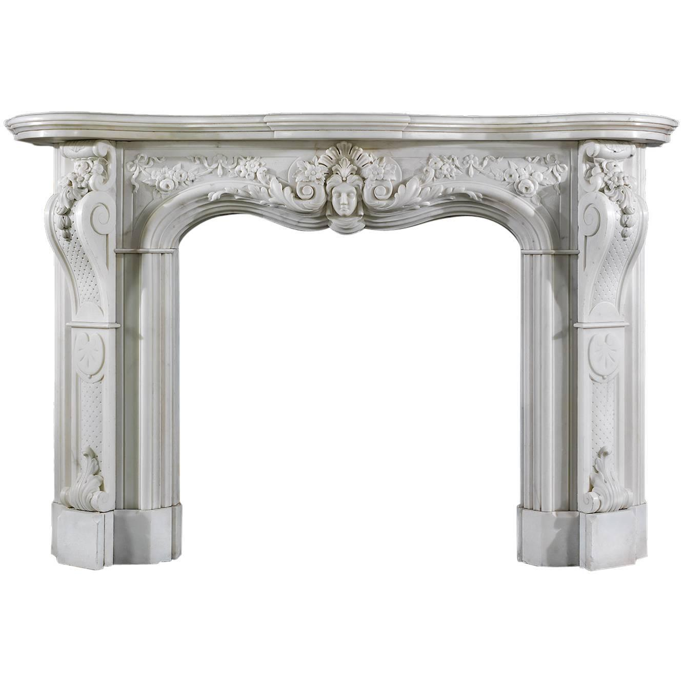 grand victorian statuary marble antique fireplace mantel
