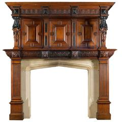 Victorian Jacobean Style Carved Oak Antique Fireplace and Overmantel