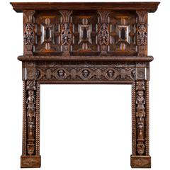 English Victorian Jacobean Style Carved Oak Antique Fireplace and Overmantel