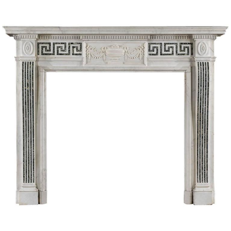 Elegant Edwardian Neo Classical Antique Marble Fireplace Mantel