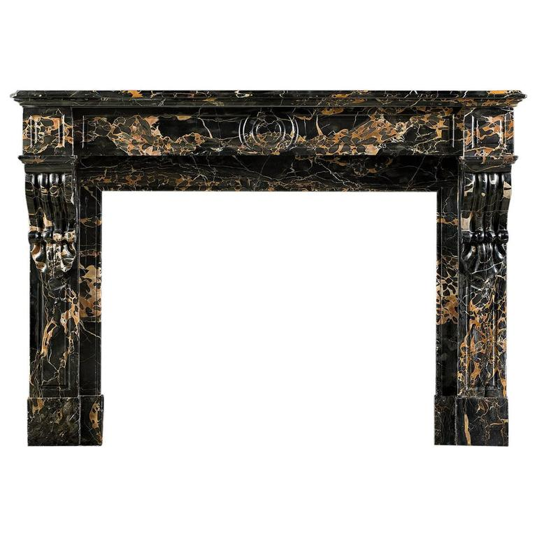 Louis XVI Style Antique Fireplace Mantel in Rare Gold Veined Portoro Marble