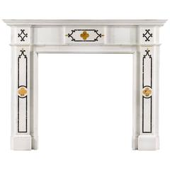 Statuary Marble Antique Fireplace with Sienna and Verde Antico Marble Inlay