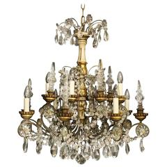 Italian Giltwood and Crystal Eight-Light Antique Chandelier