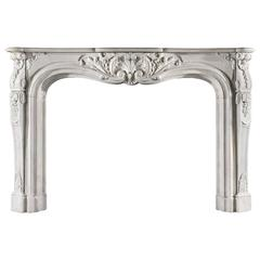 Large Louis XV Statuary Marble Louis Antique Fireplace Mantel