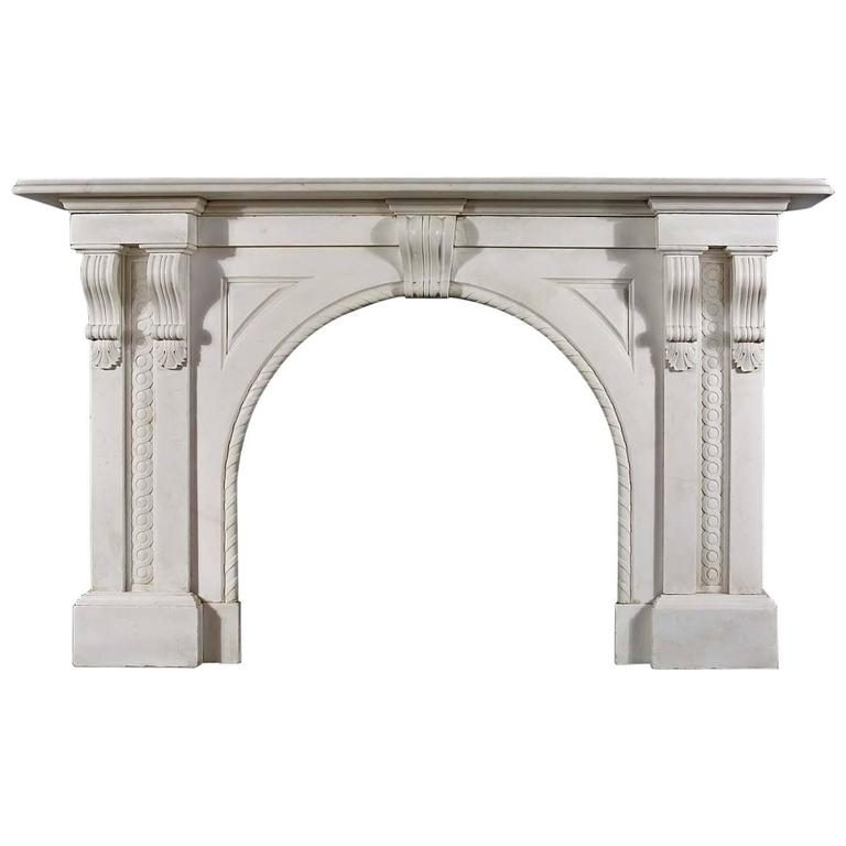 Antique Italian White Marble Victorian Arched Fireplace Mantel