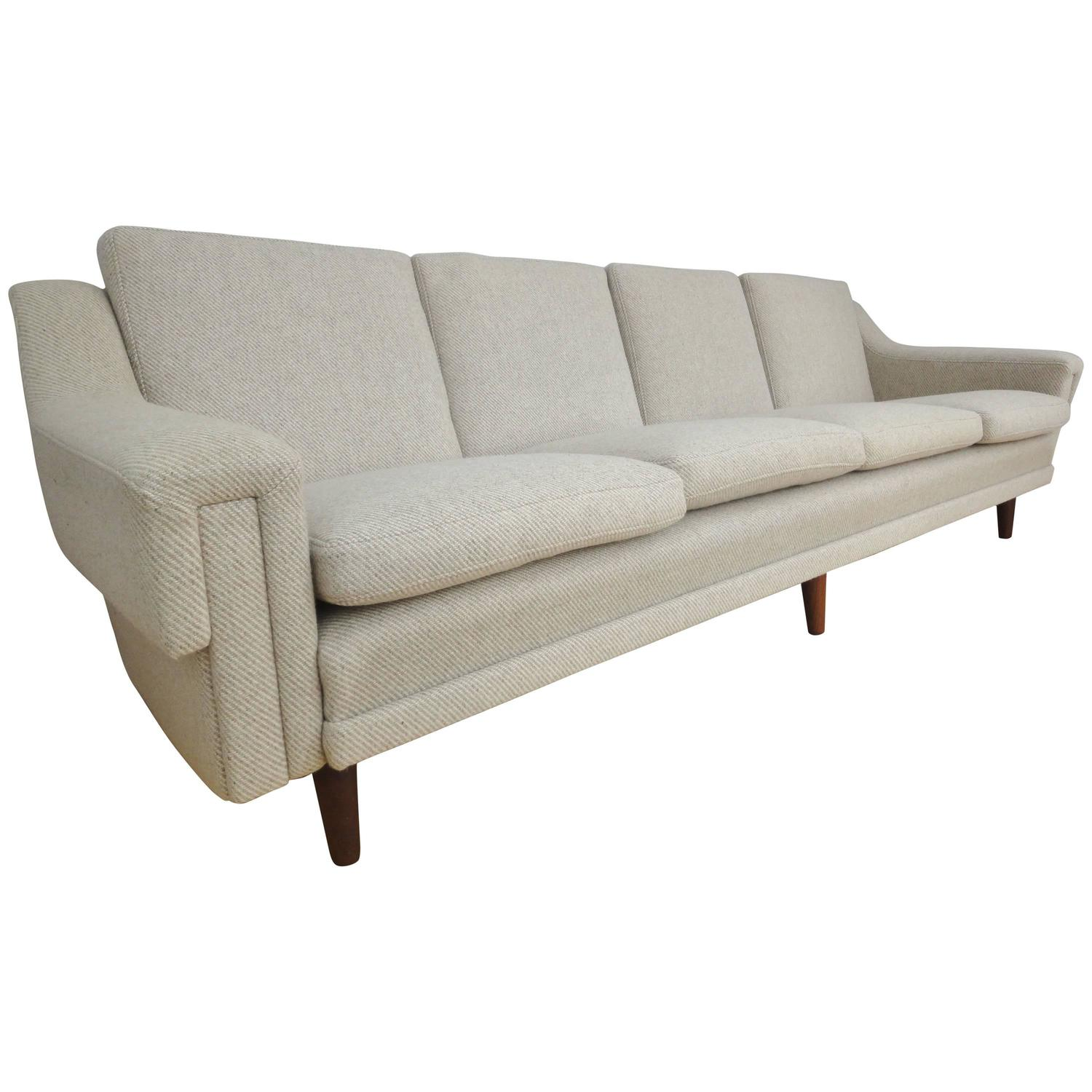 large mid century retro danish wool and teak four seat sofa couch 1950s for sale at 1stdibs. Black Bedroom Furniture Sets. Home Design Ideas