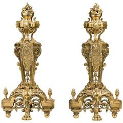 Antique Pair of Large Finely Cast Gilt Brass French Regency Style Chenets