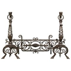 Tall Pair of Victorian Jacobean Style Wrought Iron Andirons and Fender Bar