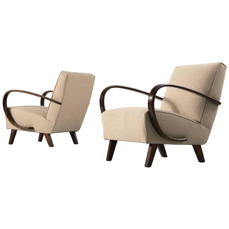 Jindrich halabala pair of reupholstered easy chairs for for Reupholstered furniture for sale
