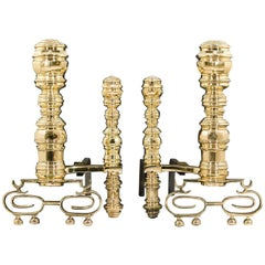 Substantial Pair of Victorian Baroque Style Antique Brass Andirons