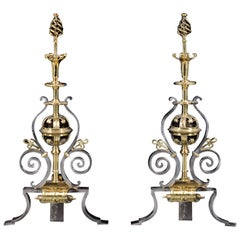 Pair of Victorian Polished Steel and Brass Antique Andirons