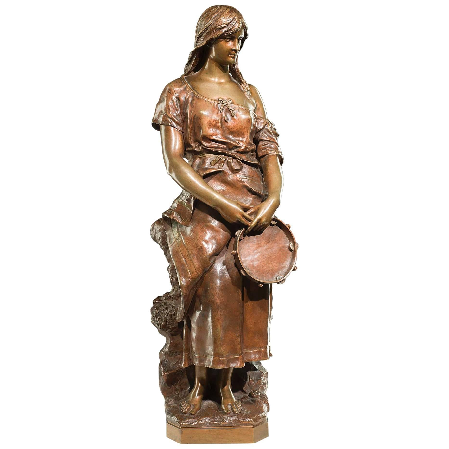 Attractive Bronze Figure of a Young Gypsy Maiden