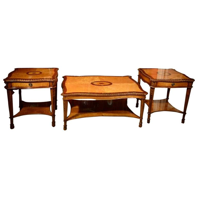 Stunning Birdu0027s Eye Maple Coffee Table And Pair Of Side Tables 1