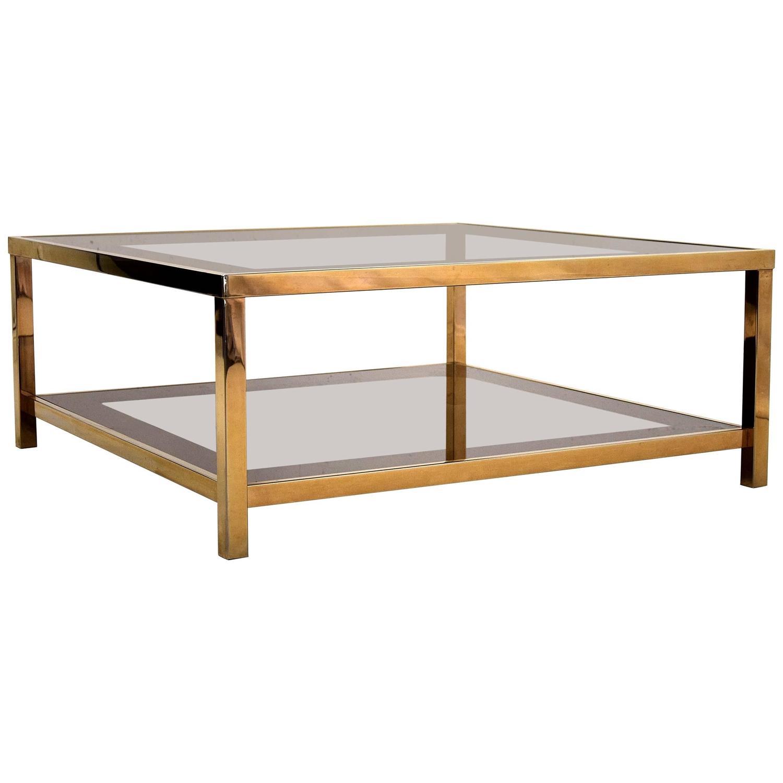 Belgo Chrome Mid century Modern 23 Karat Gold Plated Coffee Table