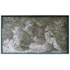 Silver Ocean - a light reflective framed shellwork of impressive size
