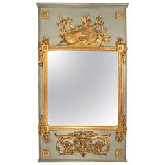 French Painted and Giltwood Louis XVI Trumeau Mirror