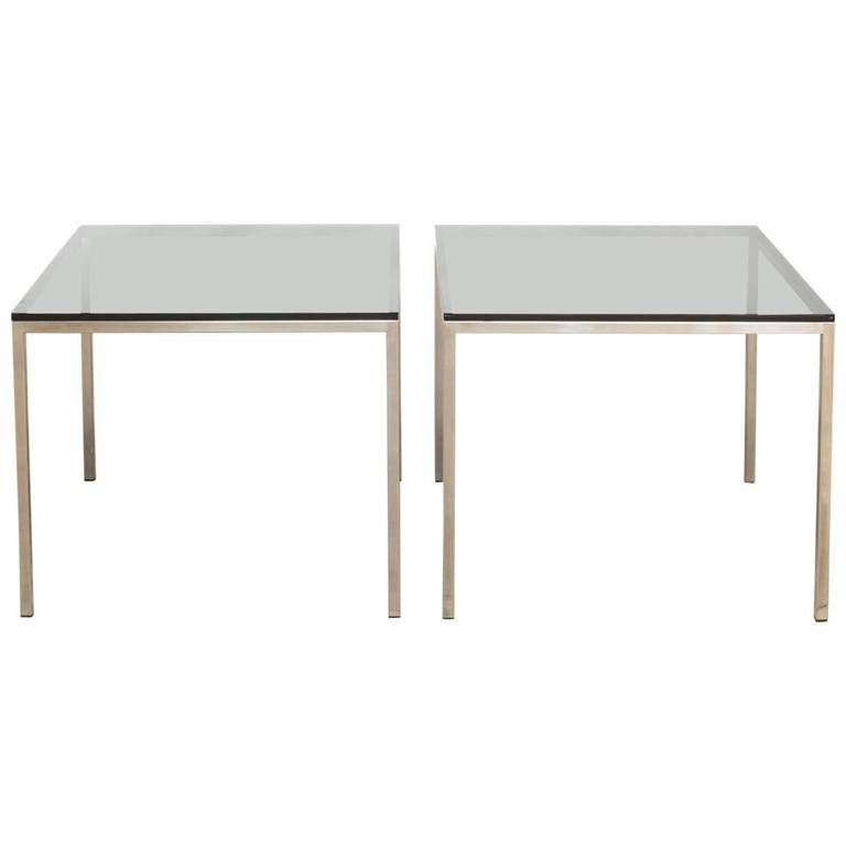 Pair Of Mid Century Chrome And Glass Side Tables By Knoll 1