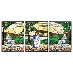 Late 20th Century Stained Glass Tryptich of Maidens in a Woodland Setting