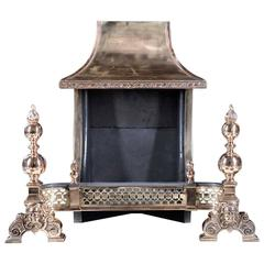Large Bronze Hooded Victorian Antique Fire Grate