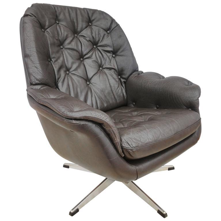 mid century retro danish brown leather swivel lounge easy armchair